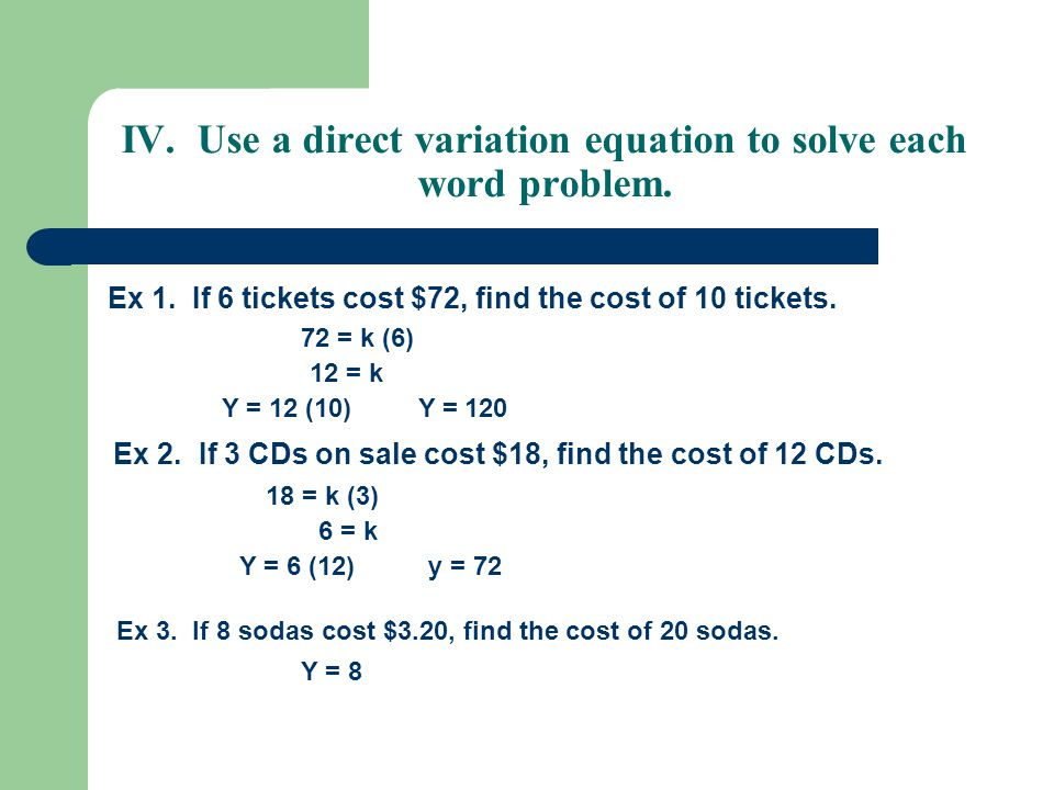 14 direct variation and proportion ppt video online download use a direct variation equation to solve each word problem ibookread Read Online