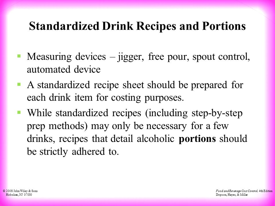 Standardized Drink Recipes And Portions