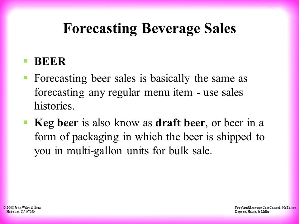 managing the cost of beverages - ppt download