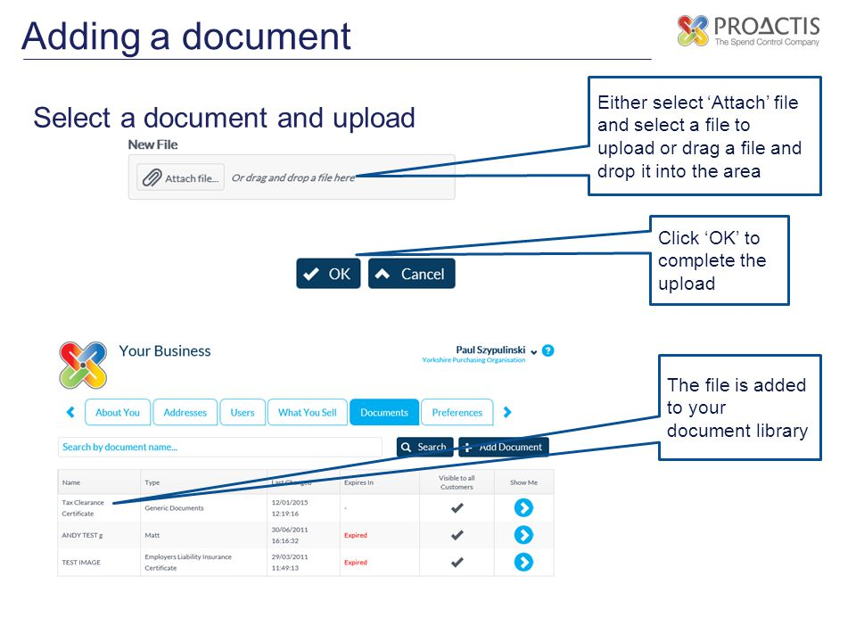 Adding a document Select a document and upload