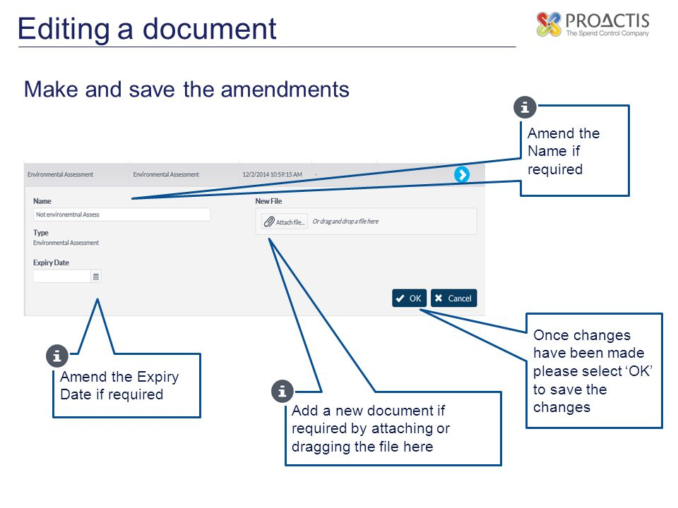 Editing a document Make and save the amendments