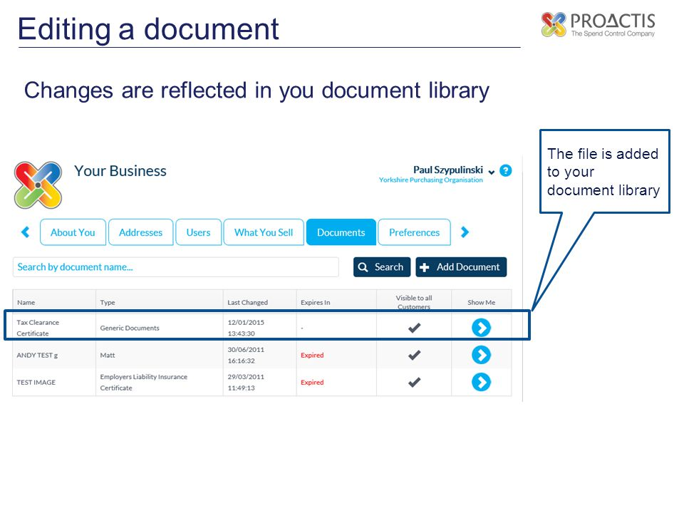 Editing a document Changes are reflected in you document library