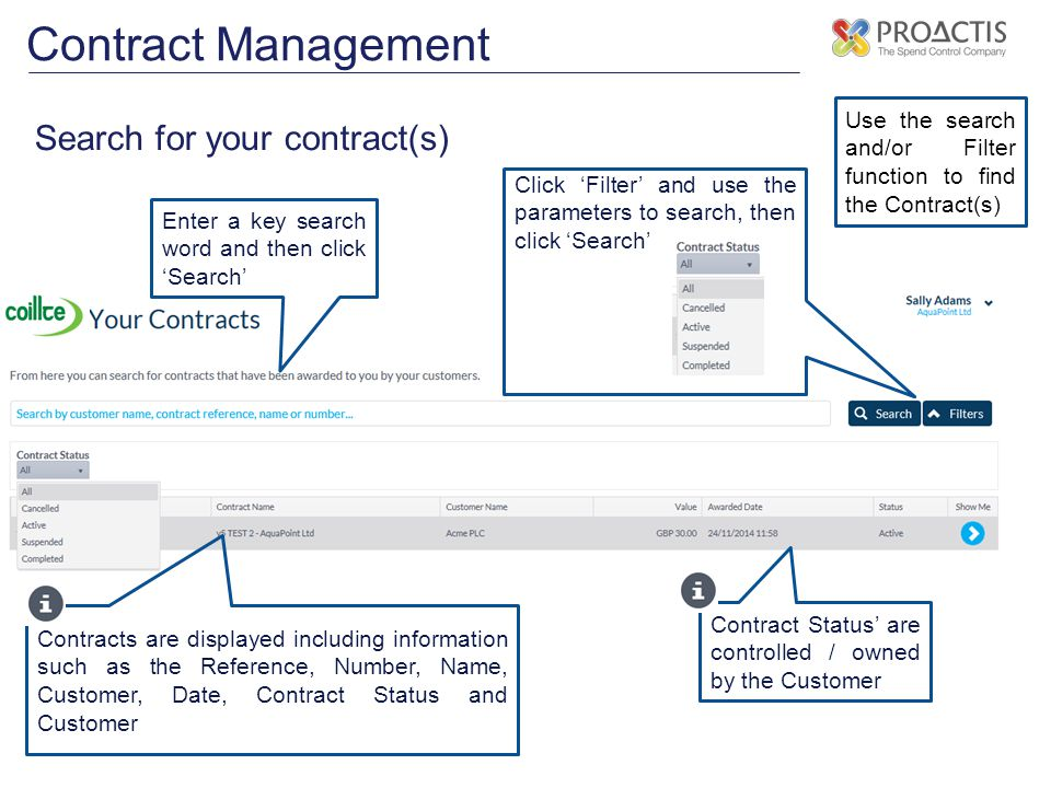 Contract Management Search for your contract(s)