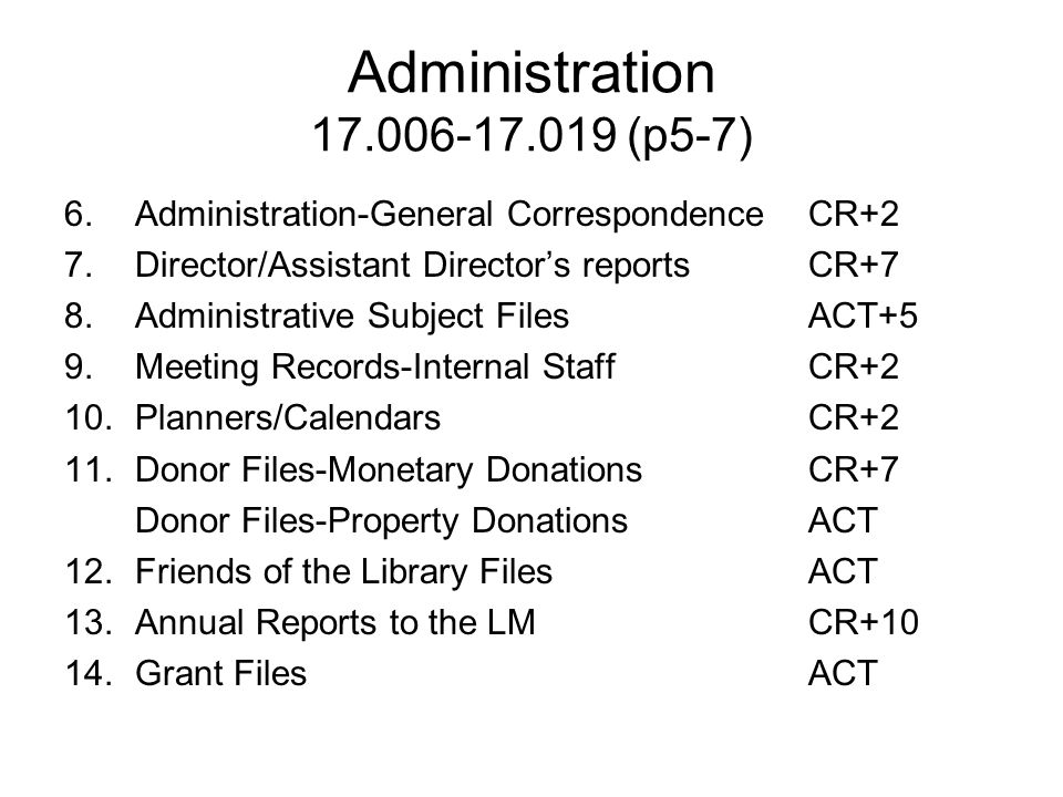 Administration 17.006-17.019 (p5-7) Administration-General Correspondence CR+2. Director/Assistant Director's reports CR+7.