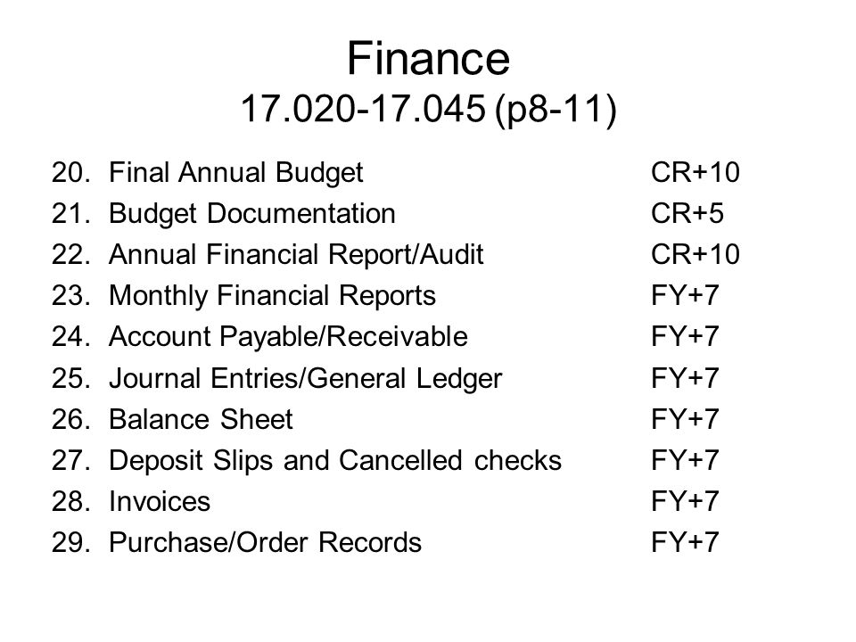 Finance 17.020-17.045 (p8-11) 20. Final Annual Budget CR+10