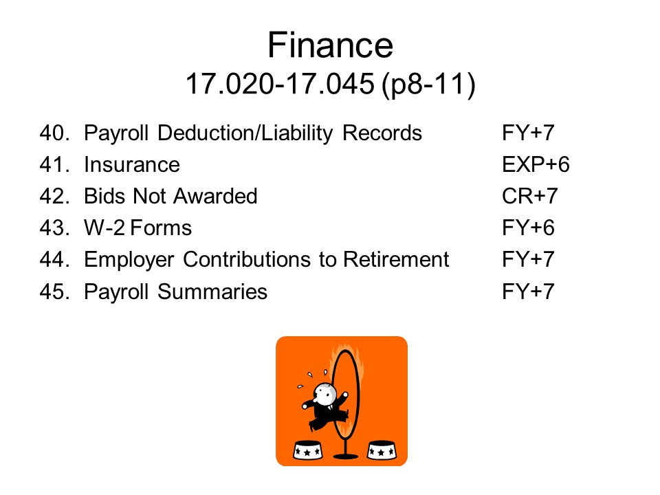 Finance 17.020-17.045 (p8-11) 40. Payroll Deduction/Liability Records FY+7. 41. Insurance EXP+6.