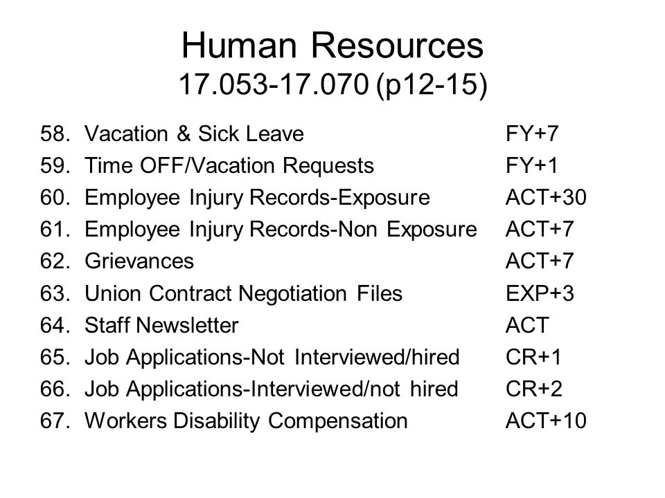 Human Resources 17.053-17.070 (p12-15) 58. Vacation & Sick Leave FY+7