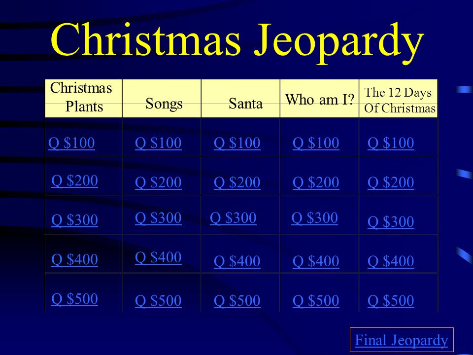 Christmas Jeopardy Christmas Plants Who am I Songs Santa Q $100