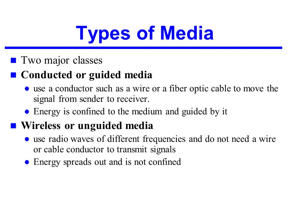 Types of Media Two major classes Conducted or guided media