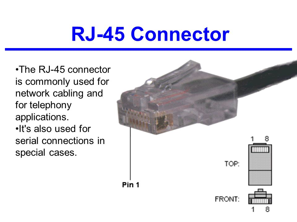 RJ-45 Connector The RJ-45 connector is commonly used for network cabling and for telephony applications.
