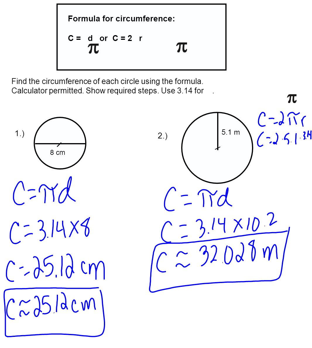 How to work out the area of a circle without a calculator (exact.