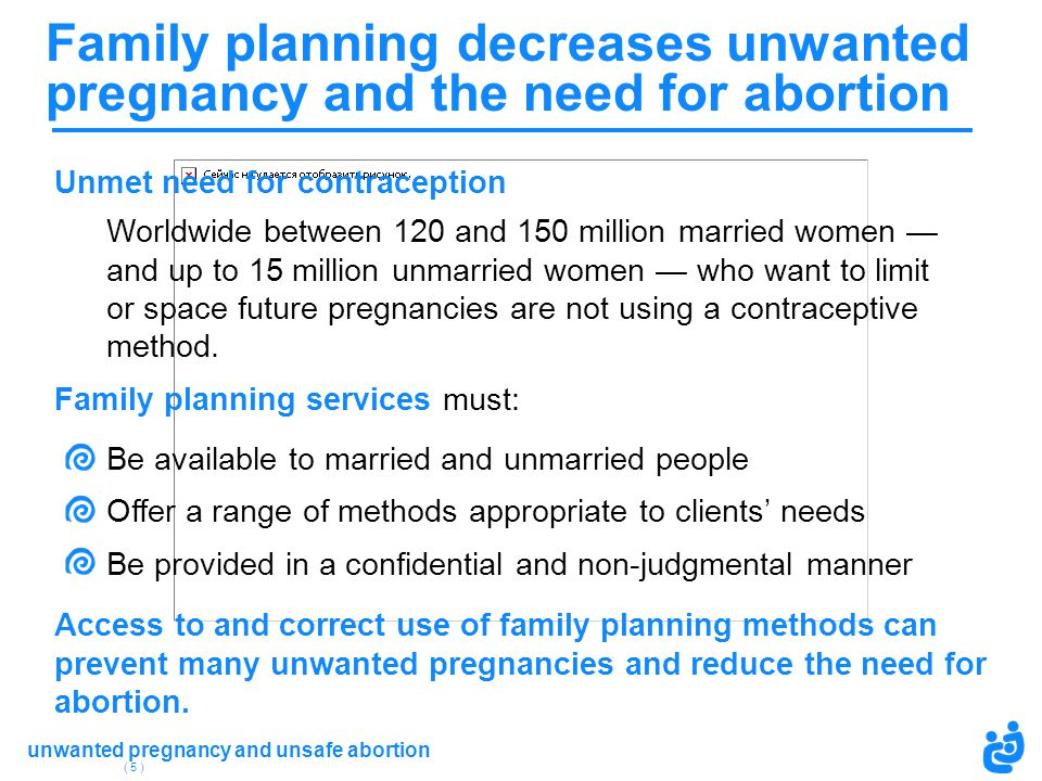 Family planning decreases unwanted pregnancy and the need for abortion