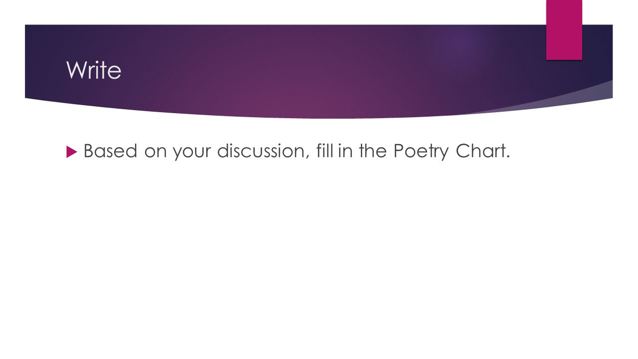 Write Based on your discussion, fill in the Poetry Chart.