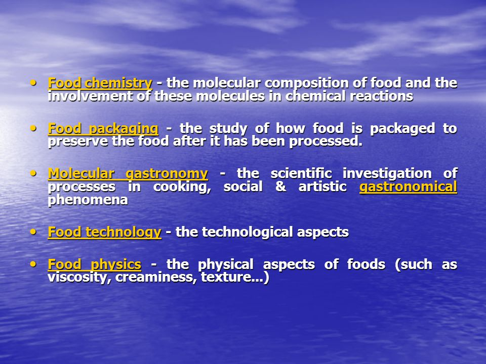 chemical reactions in food chemistry