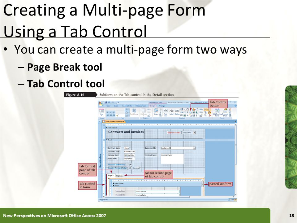 Creating a Multi-page Form Using a Tab Control