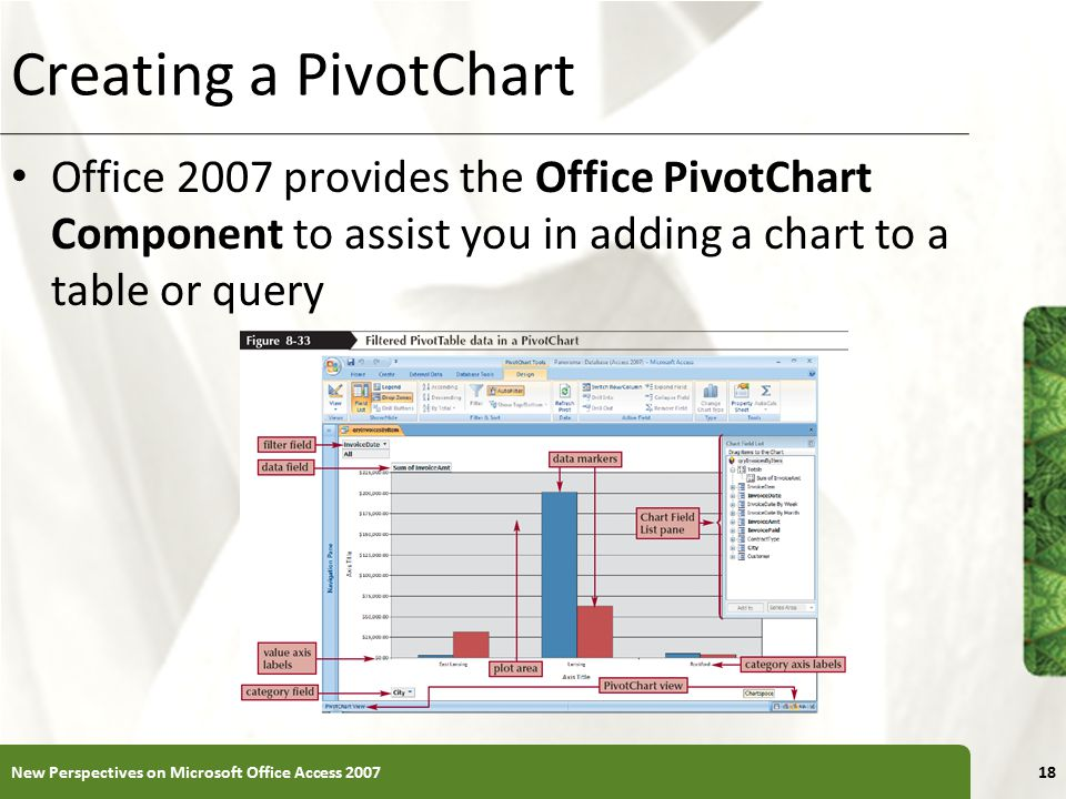 Creating a PivotChart Office 2007 provides the Office PivotChart Component to assist you in adding a chart to a table or query.