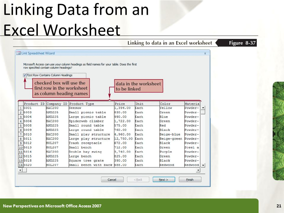 Linking Data from an Excel Worksheet