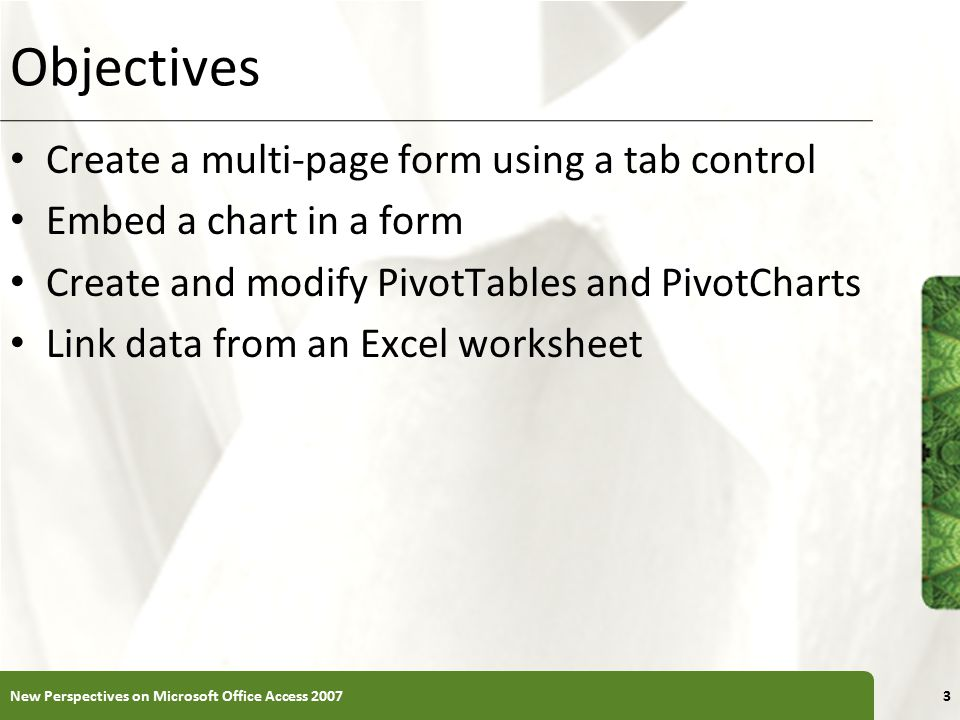 Objectives Create a multi-page form using a tab control