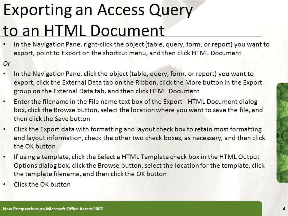 Exporting an Access Query to an HTML Document