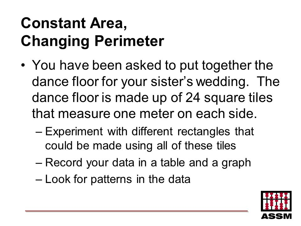 Constant Area, Changing Perimeter