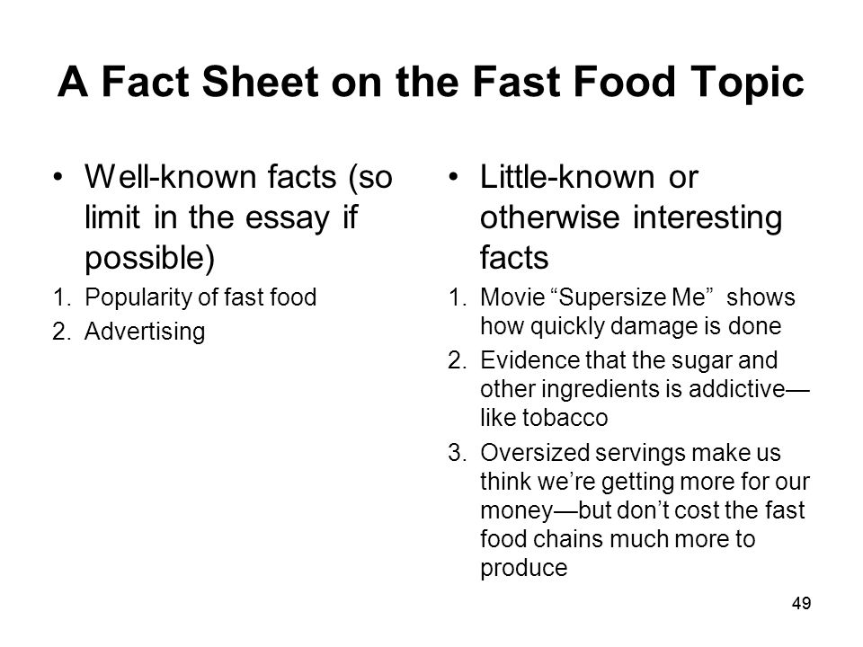 Essays In English A Fact Sheet On The Fast Food Topic Compare And Contrast Essay Topics For High School Students also Essay Writing Scholarships For High School Students Sample Practice Topicfast Food  Ppt Download Example Of A College Essay Paper