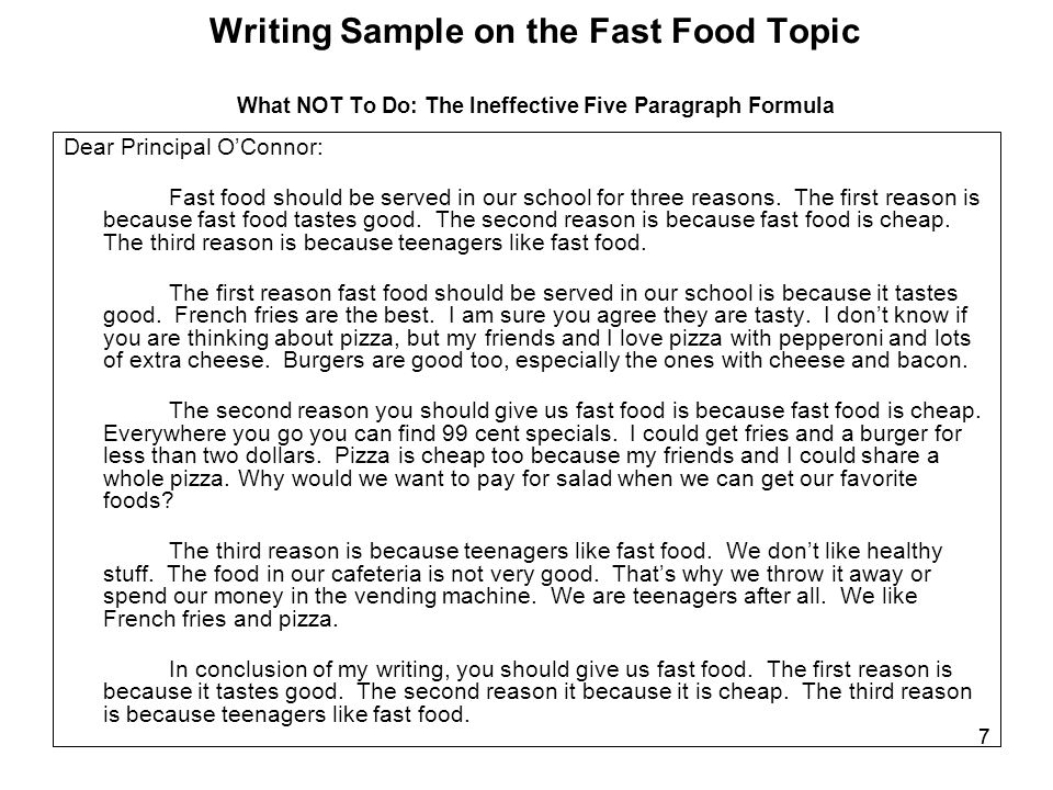 paragraph fast food