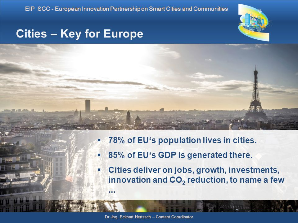 Cities – Key for Europe 78% of EU's population lives in cities.