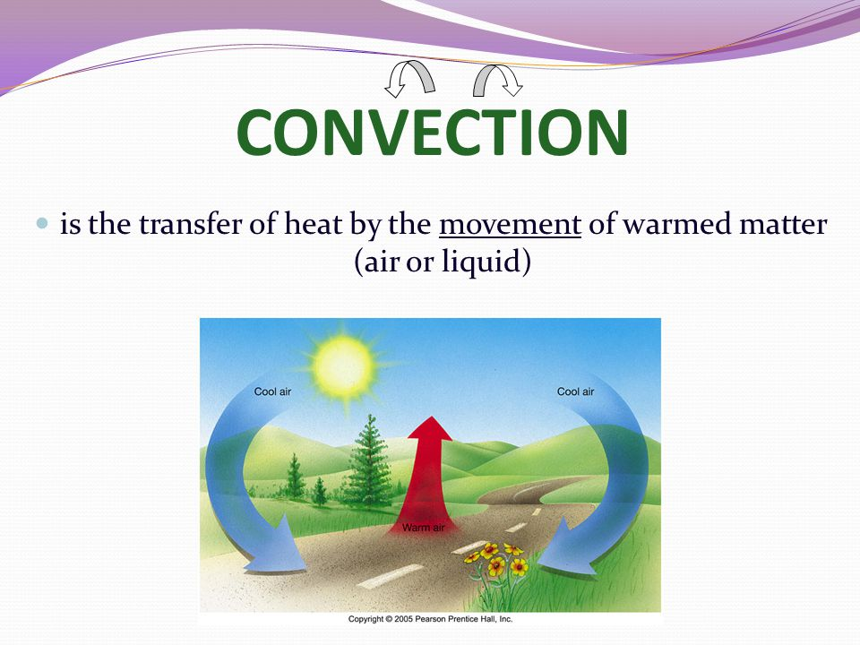 CONVECTION is the transfer of heat by the movement of warmed matter (air or liquid)