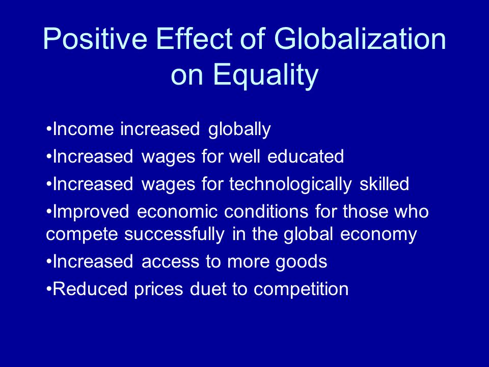 positive effects of economic globalization