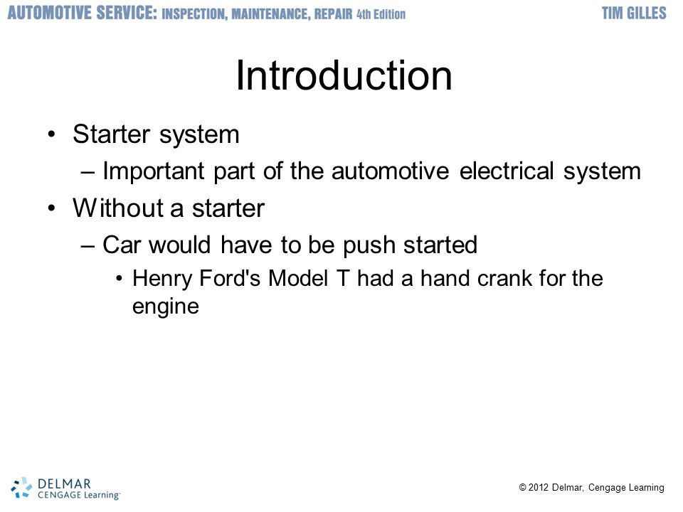 starting system fundamentals ppt video online download How Do Car Batteries Work introduction starter system without a starter