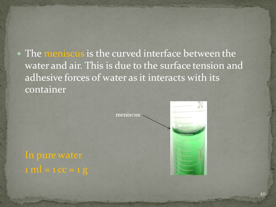 The meniscus is the curved interface between the water and air