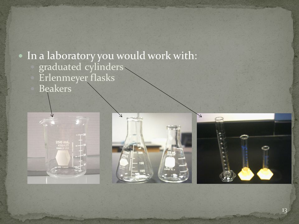In a laboratory you would work with: