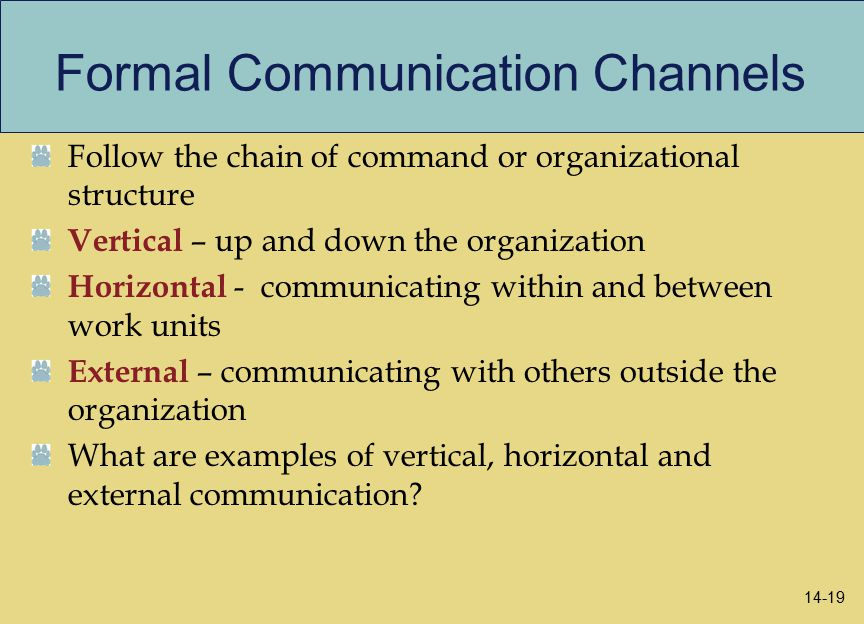 examples of formal communication channels