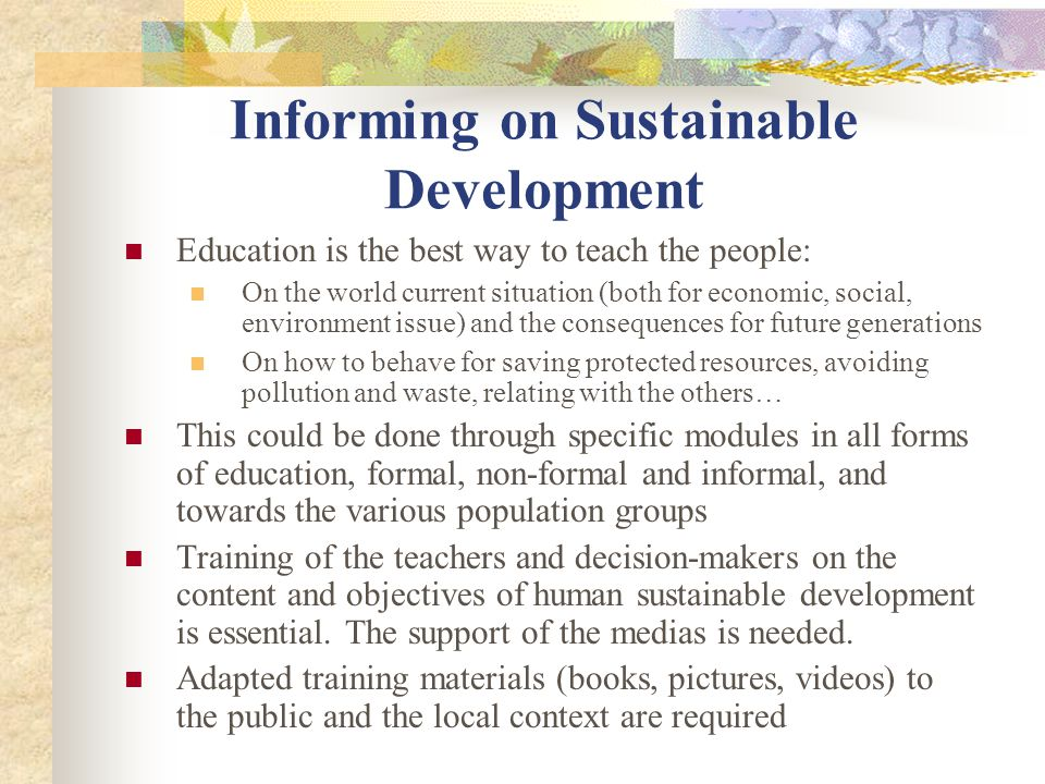 Informing on Sustainable Development