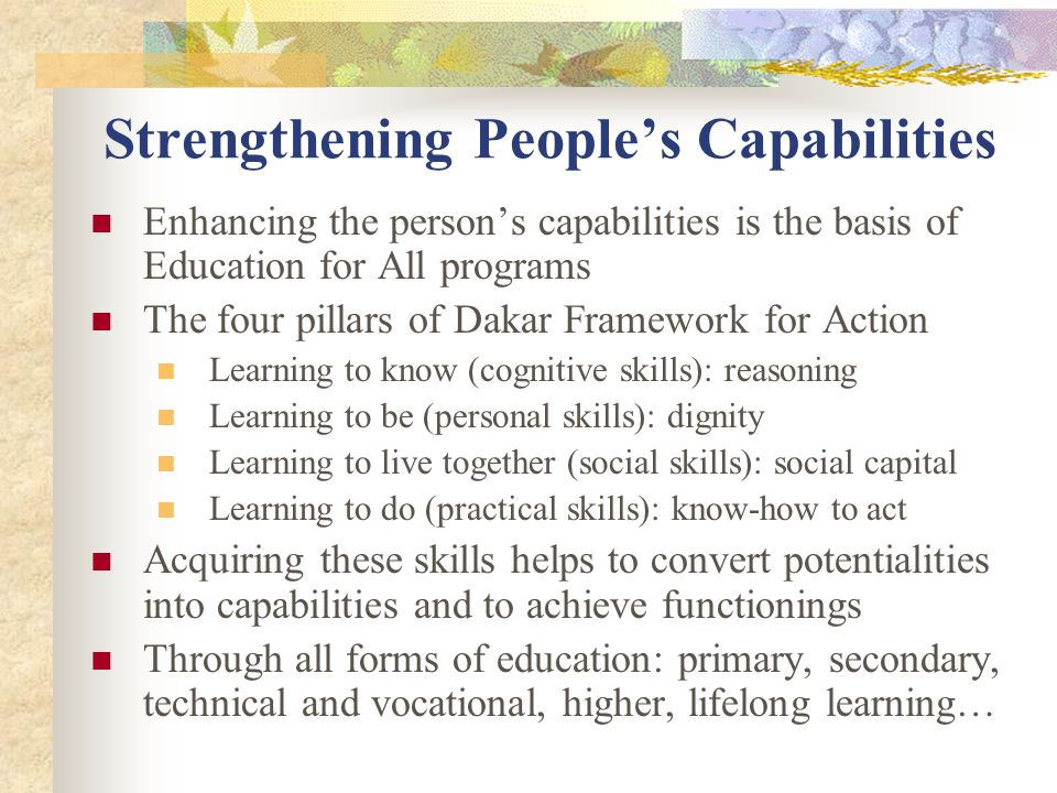 Strengthening People's Capabilities