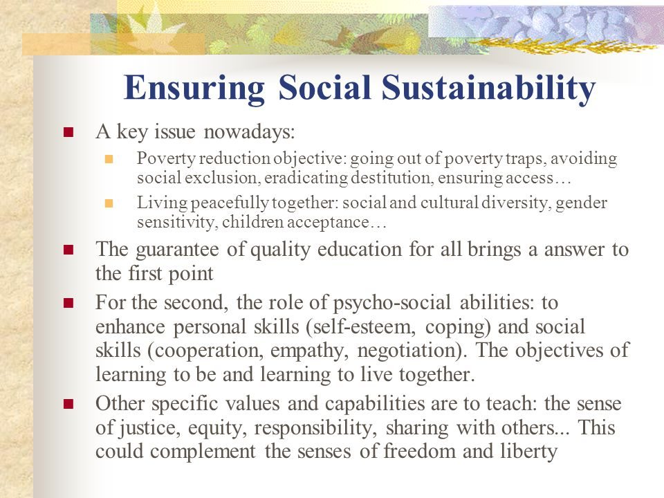 Ensuring Social Sustainability