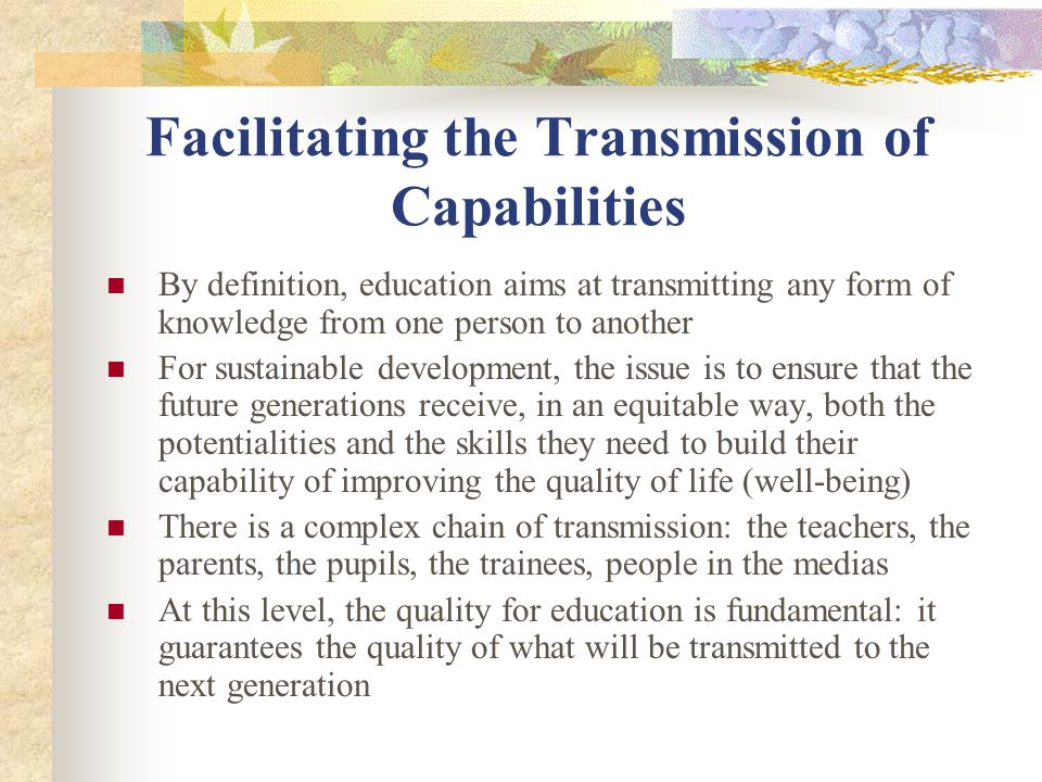 Facilitating the Transmission of Capabilities