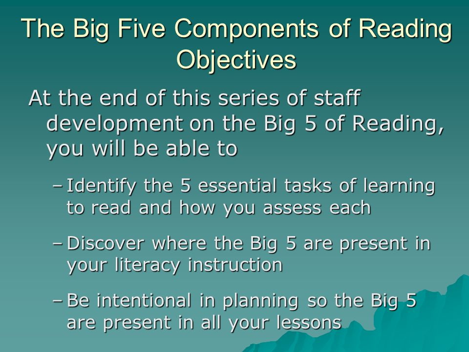 The Big Five Components Of Reading Phonological Processing Ppt