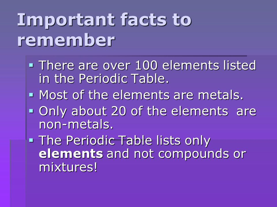 Periodic table of elements ppt video online download important facts to remember urtaz Images