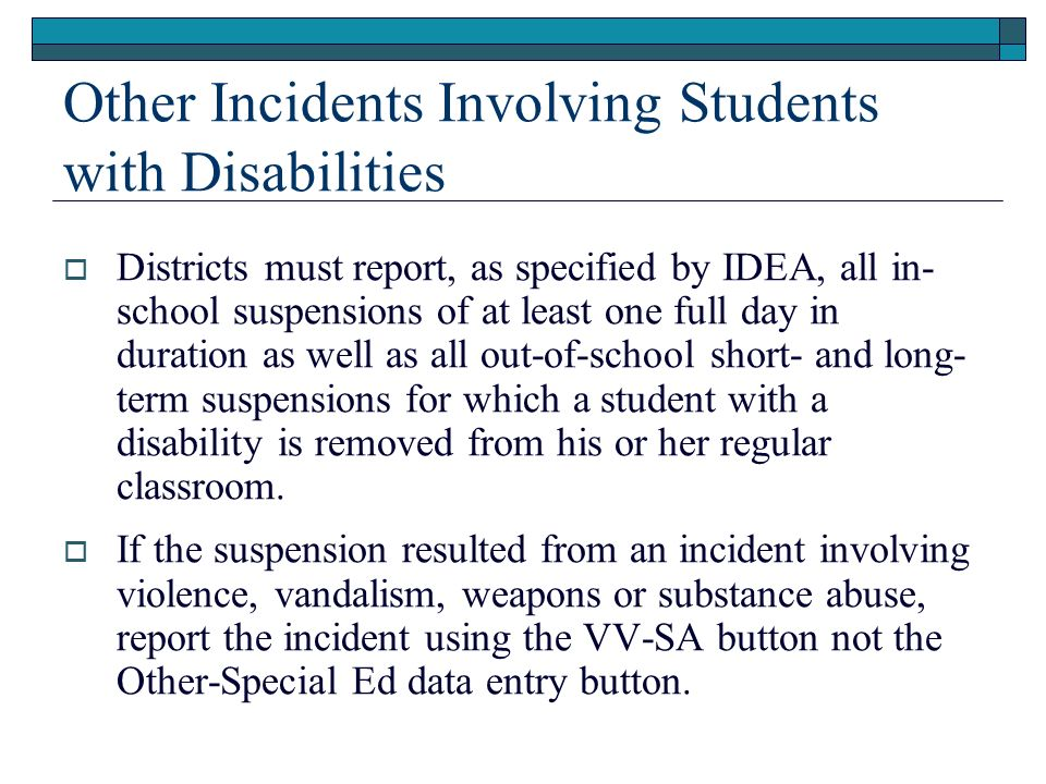 Other Incidents Involving Students with Disabilities