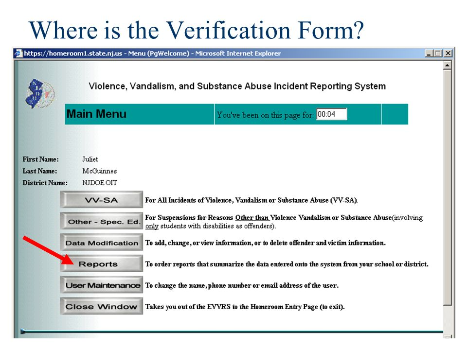Where is the Verification Form