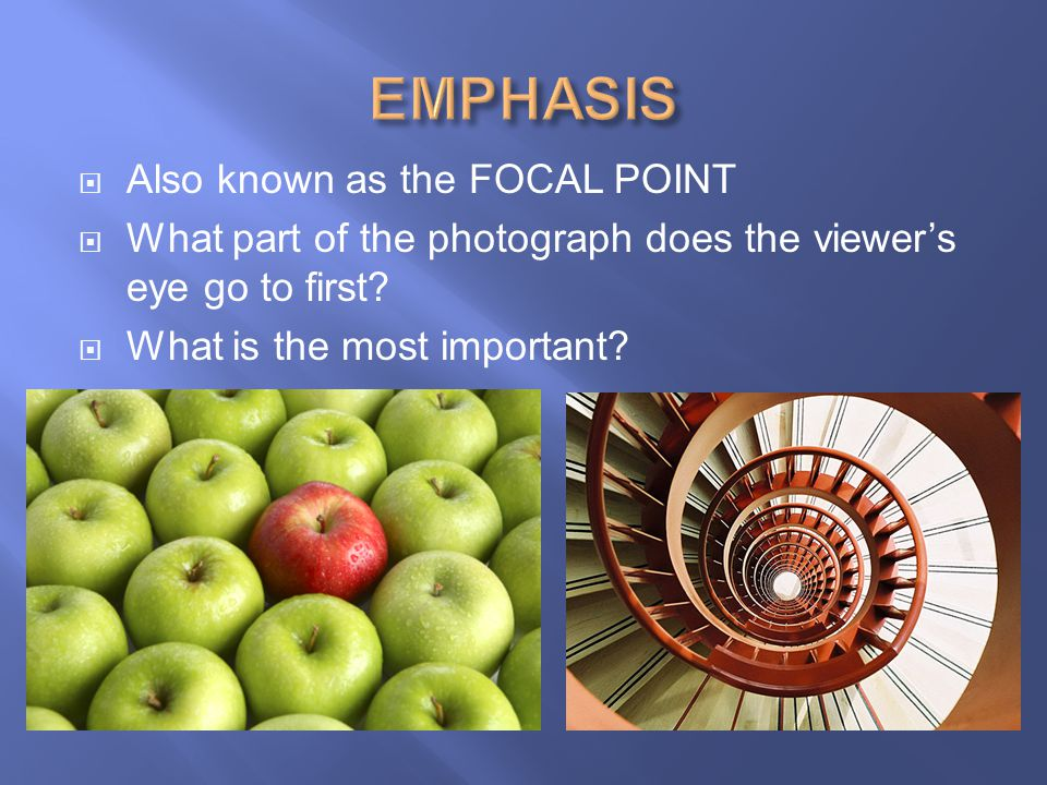 EMPHASIS Also known as the FOCAL POINT