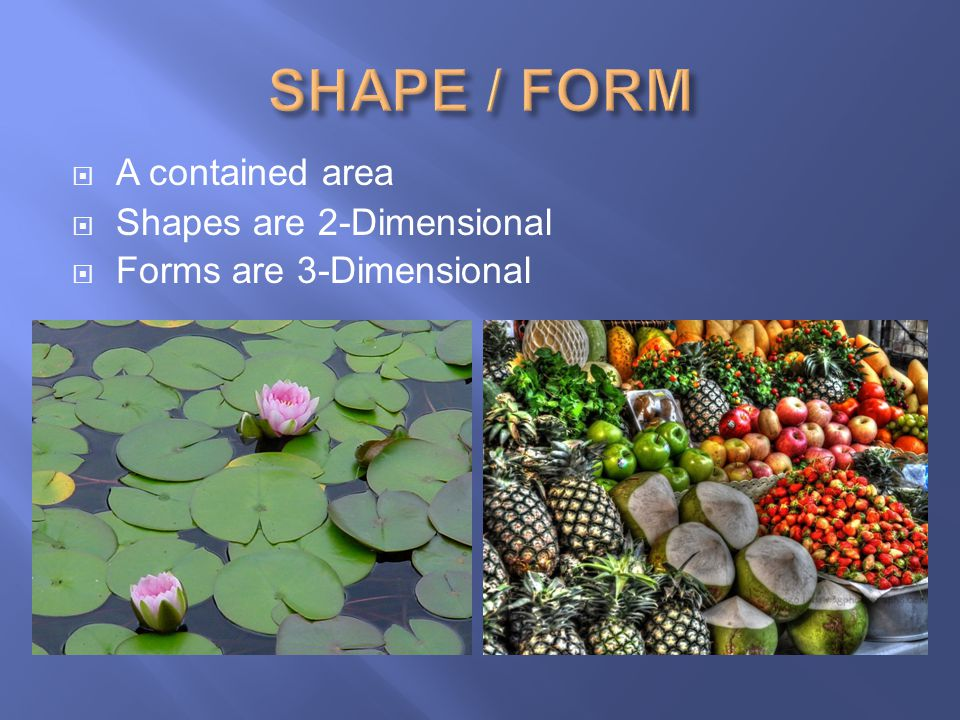 SHAPE / FORM A contained area Shapes are 2-Dimensional