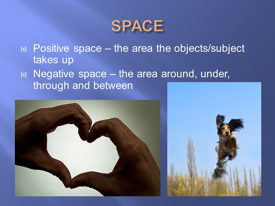SPACE Positive space – the area the objects/subject takes up