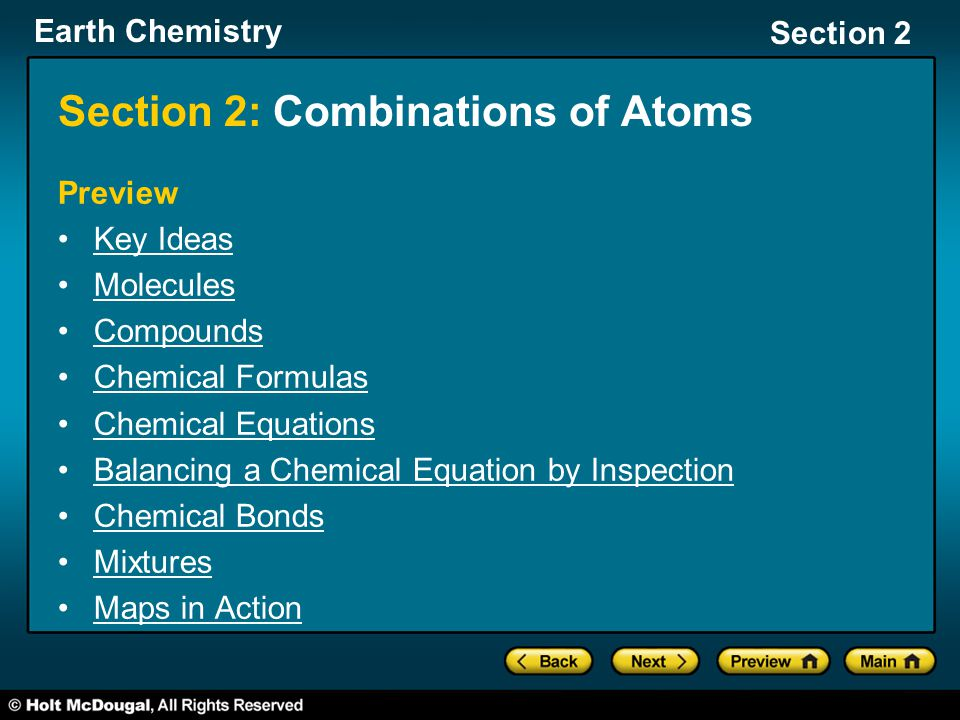 Section 2: Combinations of Atoms