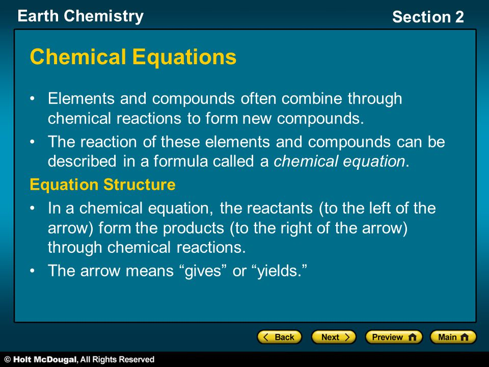 Chemical Equations Elements and compounds often combine through chemical reactions to form new compounds.