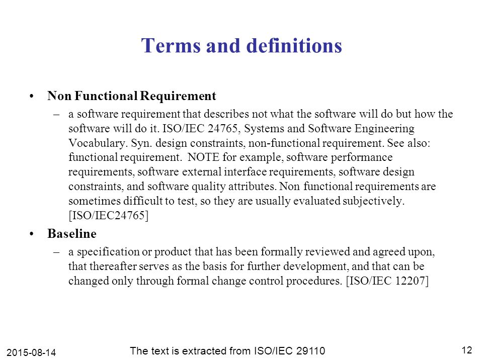 Software development using isoiec tr engineering and management terms and definitions non functional requirement baseline maxwellsz