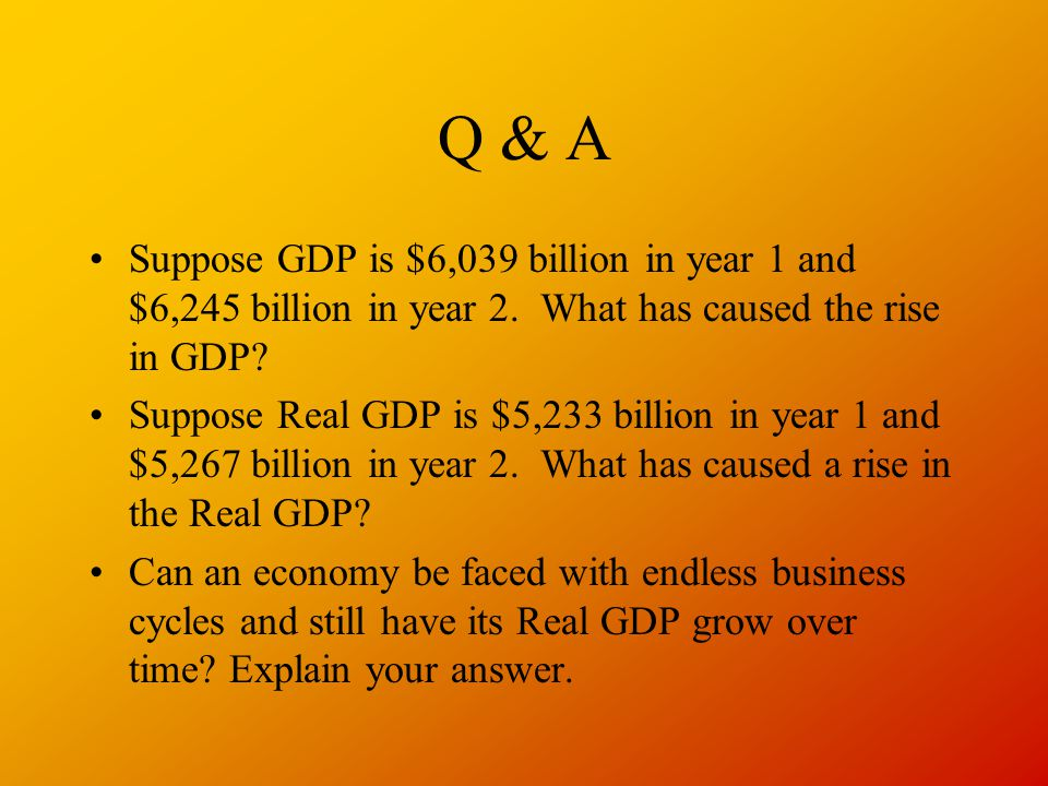 Q & A Suppose GDP is $6,039 billion in year 1 and $6,245 billion in year 2. What has caused the rise in GDP