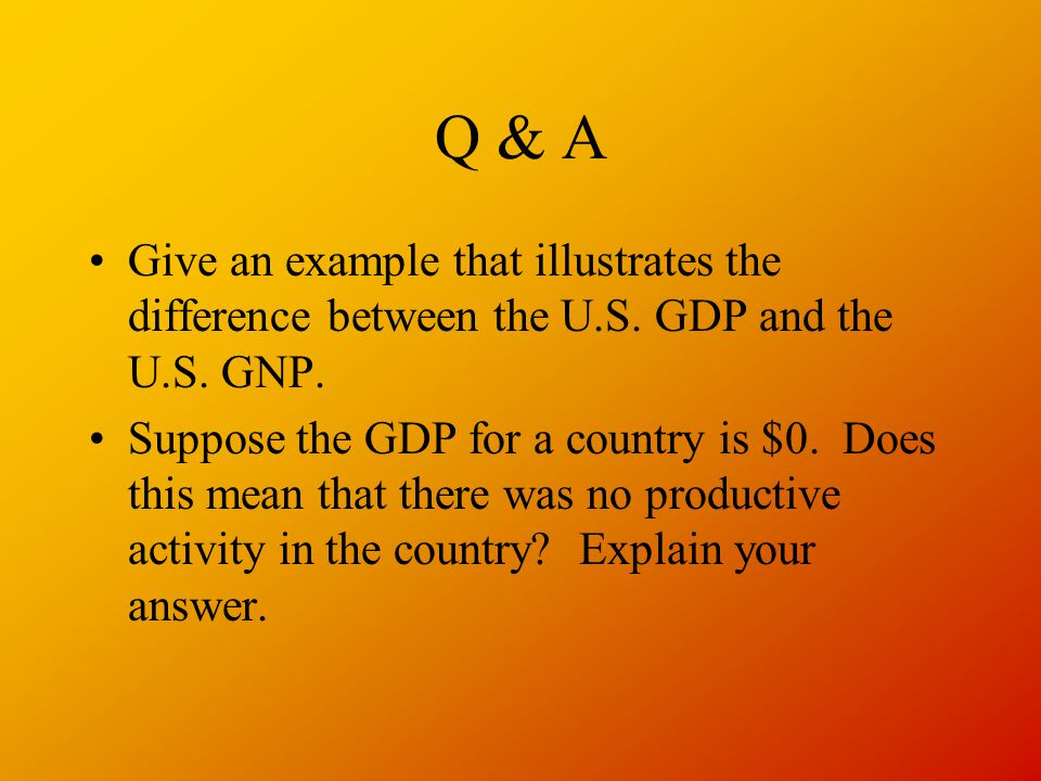 Q & A Give an example that illustrates the difference between the U.S. GDP and the U.S. GNP.