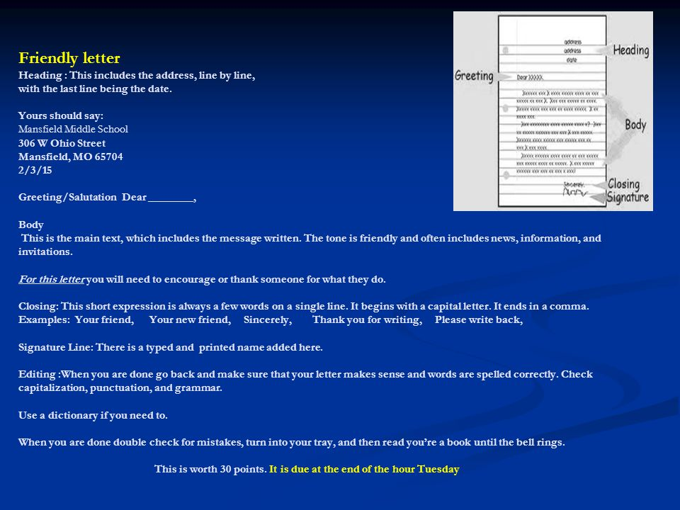Friendly letters vs business letters ppt video online download 12 friendly spiritdancerdesigns Gallery